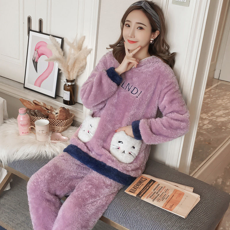 Winter Women Pajama Flannel Sleepwear Long Sleeves Hot Pajamas For Women Velvet Pajama Women Soft Clothing 77