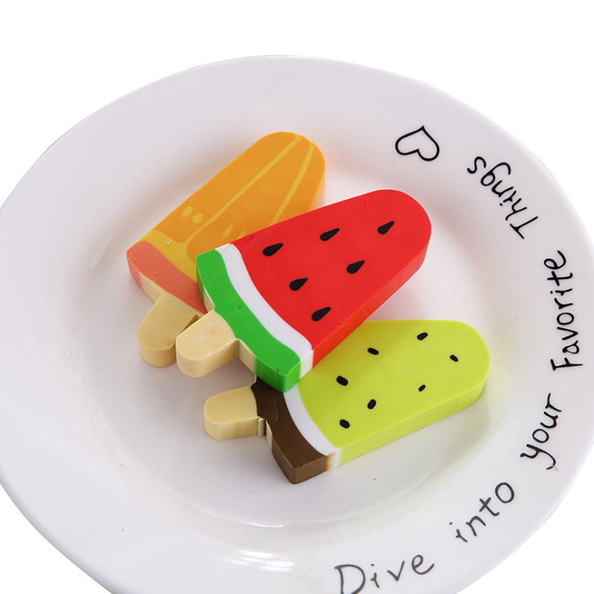12pcs/lot Cute Watermelon Kiwi Popsicle Design Rubber Prizes School Supplies Erasers For Kids Stationery