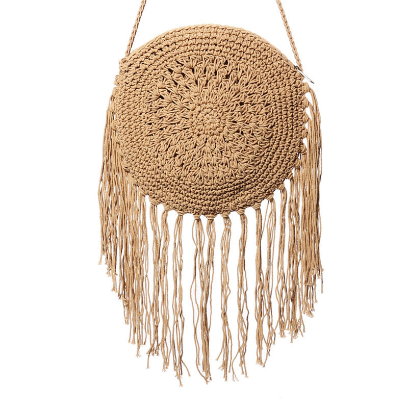 Round Straw Bag with Fringe Tassel 2