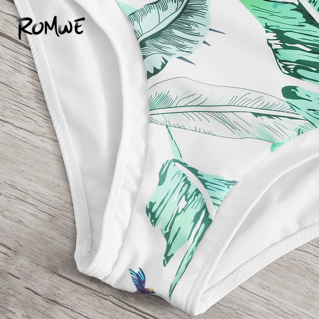 Romwe Спорт джунгли лист Монокини купальные костюмы с вырезами сбоку сдельная пляжная одежда купальник женский летний сексуальный купальный ... 3