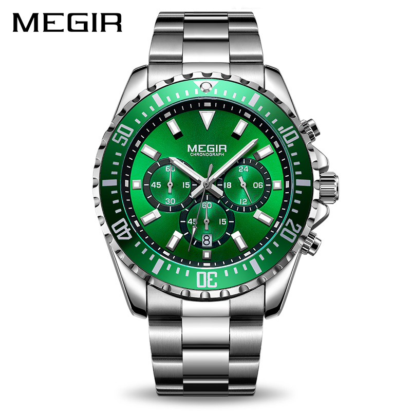 MEGIR Men Watch Top Brand Luxury Chronograph Quartz Watches Stainless Steel Business Wristwatches Men Clock Relogio Masculino megir top brand luxury men quartz watch stainless steel band men fashion business watches men leisure clock relogio masculino