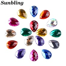 Sunbling 50pcs / lot 10 * 14mm Drop Oblik Crystal Sew On Rhinestone 2 Rupa Sliver Flatback Akril Nakit za vjenčanicu