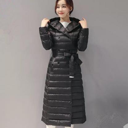 Manteau d'hiver Des Femmes À Capuchon mince Chaud Long coton-rembourré veste avec ceinture