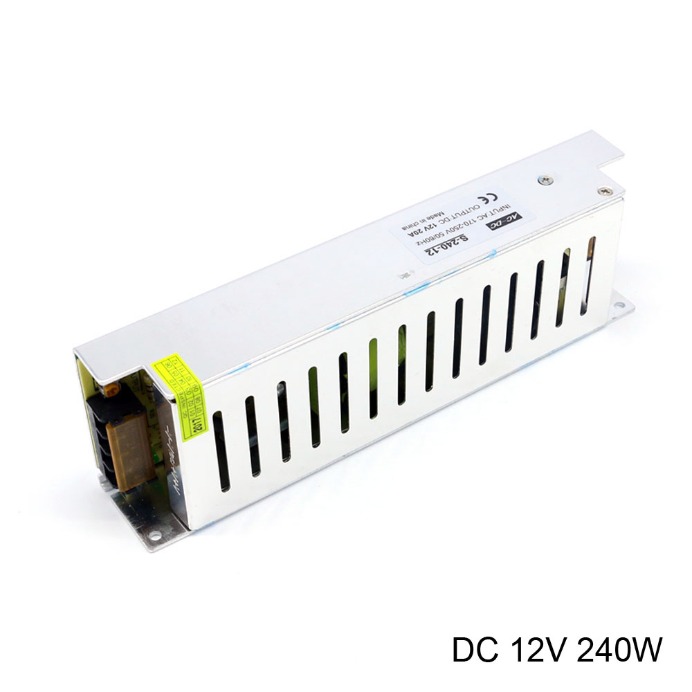 DC 12V Laboratory Power Supply 12V 20A 240W Long Strip Mini Power Supply AC DC 12V Switching Power Supply for led Lights nes 15 48 ac dc mini size 15w led power supply