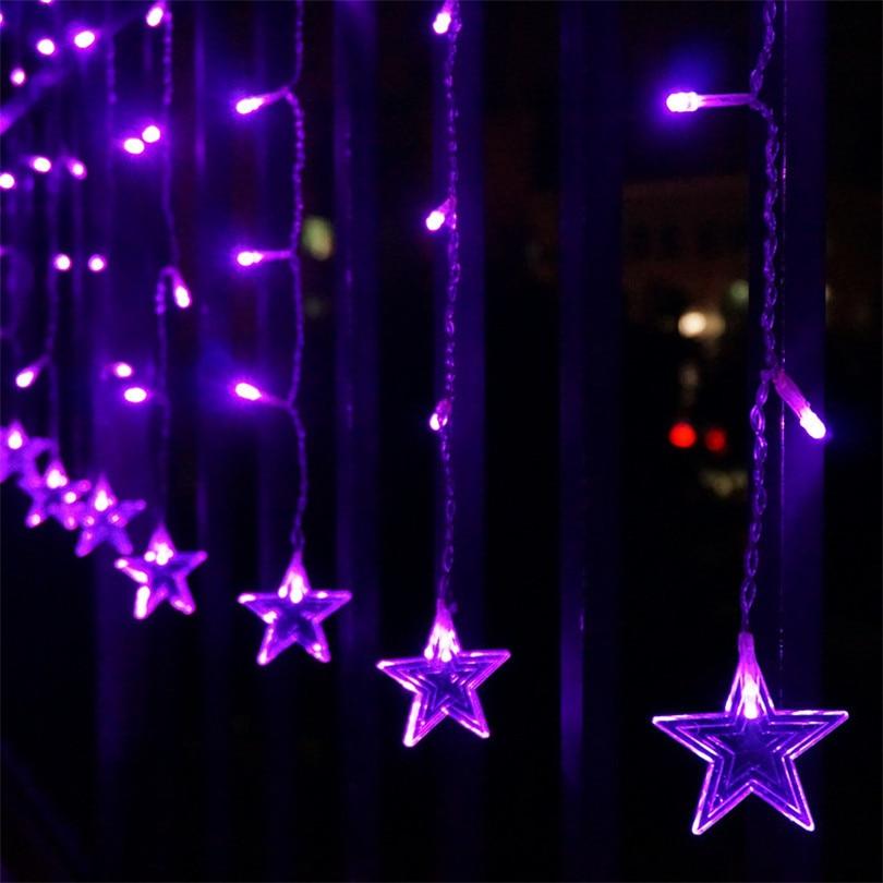 Trecaan 5M / 3.5M Femstjärnig String Stil Curtain Lights Fairy Xmas - Festlig belysning - Foto 3