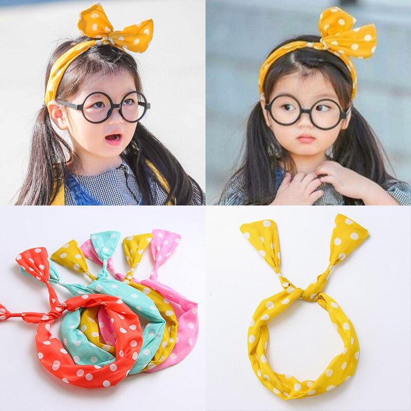 8 Colors Girl Cute Dot Headbands Girl Hair Accessories Pink Yellow Black Decoration