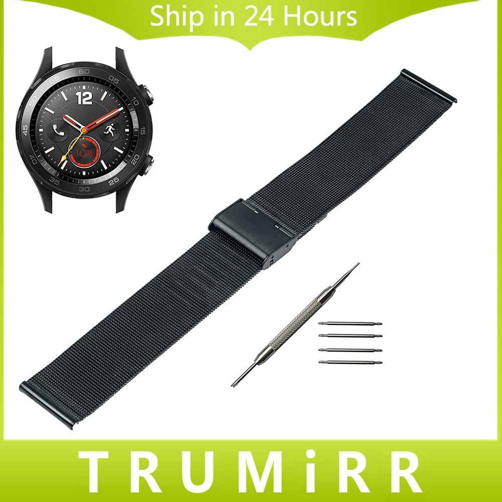Milanese Watchband for Huawei Watch 2 Pebble Time Round 20mm Bradley Timepiece Stainless Steel Band Wrist Strap Bracelet Black elastic watch band 20mm 22mm for pebble 1 1st gen pebble time round 20mm pebble time stainless steel strap link belt bracelet