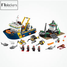 Lepin 02012 Legoing City Figure Blocks Exploration Sea Deep Exploration Ship Kids Gift DIY Toys For Children 60095 City Legoings(China)