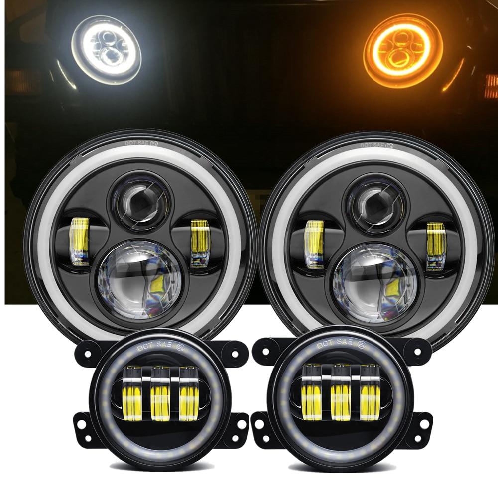 Marloo 7 pouces LED Halo phares + 4 pouces LED antibrouillard DRL Combo Kit pour Jeep Wrangler JK 2007-2017Marloo 7 pouces LED Halo phares + 4 pouces LED antibrouillard DRL Combo Kit pour Jeep Wrangler JK 2007-2017