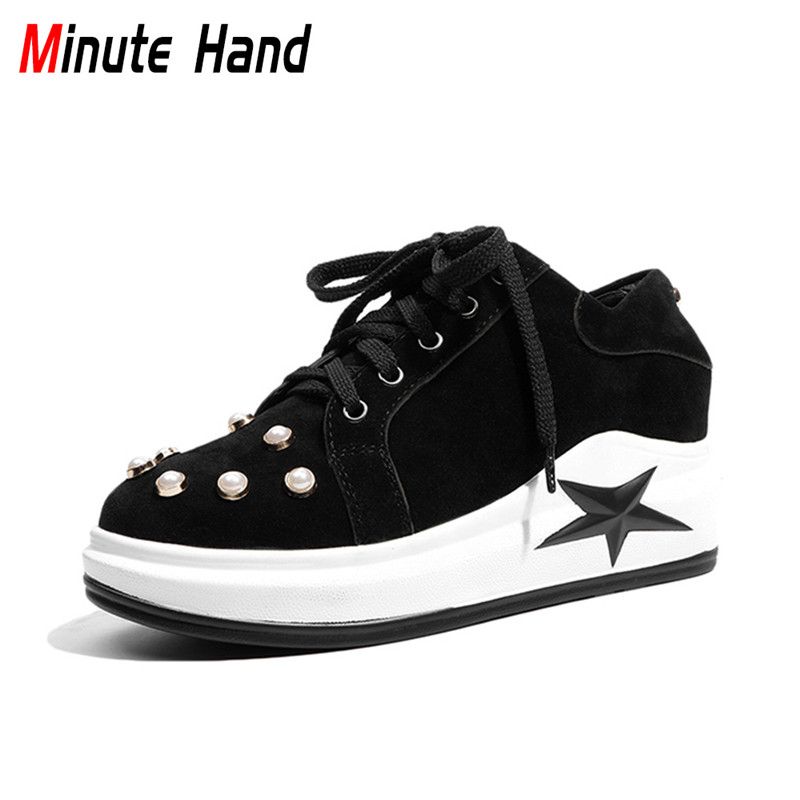 Minute Hand 2018 New Fashion Women Wedges Leisure Shoes Hidden Heels Platform Round Toe Lace Up Pearl Decoration Plus Size 32-45 morazora plus size 34 42 wedges shoes med heels 4 5cm round toe single shoes fashion lace up women pumps platform
