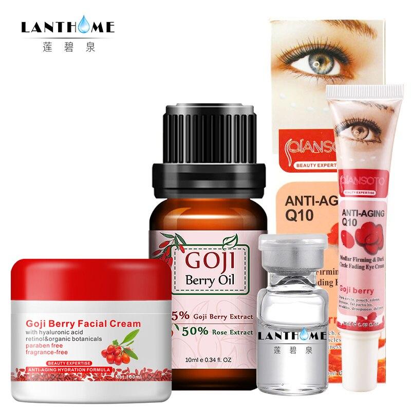 4 pcs/lot Lanthome Goji Berry Du Visage/Yeux Crème de Goji Huile acide Hyaluronique Visage Anti-agless Blanchiment Hydratant Anti cernes