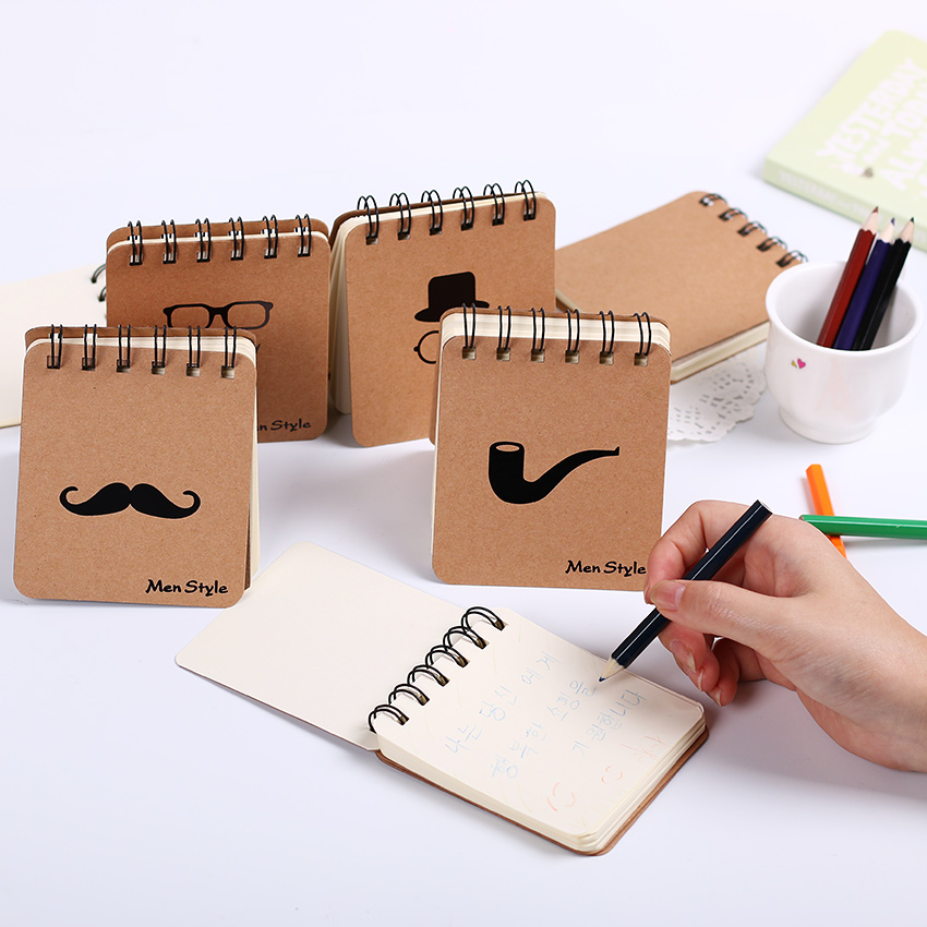 1 PC Cute Notebook Moustache Coil Notepad Plan Diary Day Planner Journal Record Stationery Office School Supplies