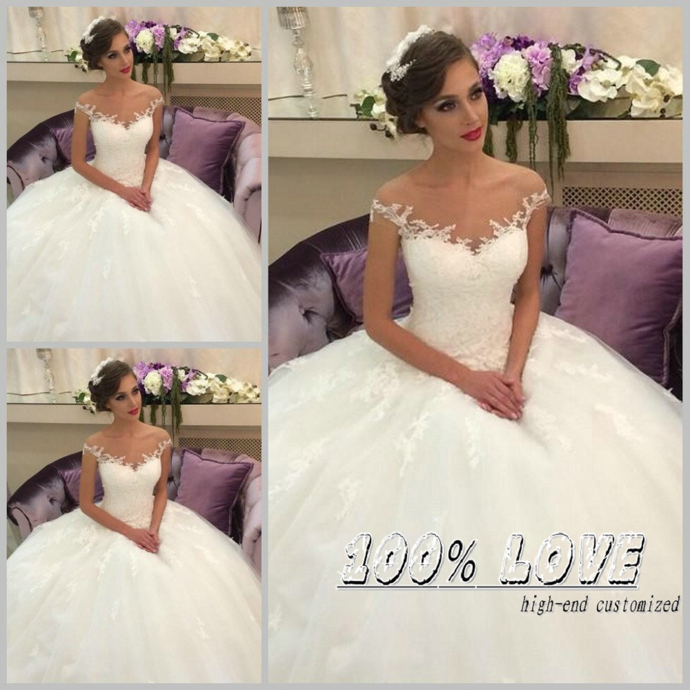 Free Shipping New Arrival Dreamy Cap Sleeve Lace Appliqued Puffy Ball Gown Wedding Dresses Turkey In From Weddings Events On