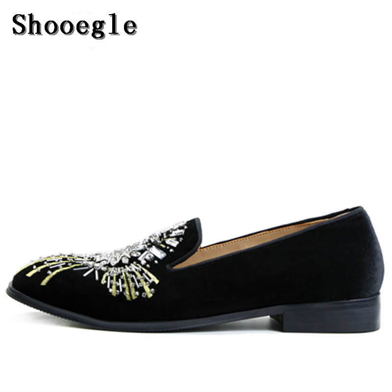 SHOOEGLE Diamond Embroidery Velvet Men Shoes Luxury Handmade Wedding and Party Loafers Men Slip-on Flats shoes Free shipping runail лампа ccfl led 18 вт