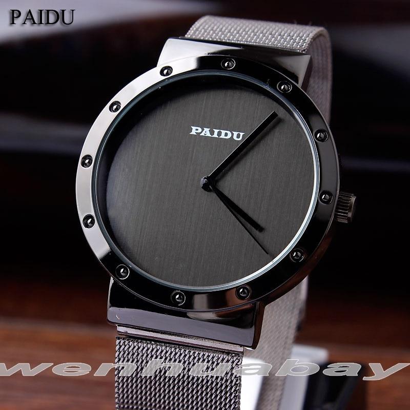 Paidu Full Steel černá bílá muži ženy šaty hodinky hodiny - Pánské hodinky