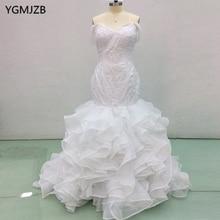 YGMJZB Elegant White Lace Wedding Dresses Long 2018 Mermaid