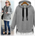Maternity fall and winter big yards long section of thick velvet hooded cotton does not fall pregnant women sweater