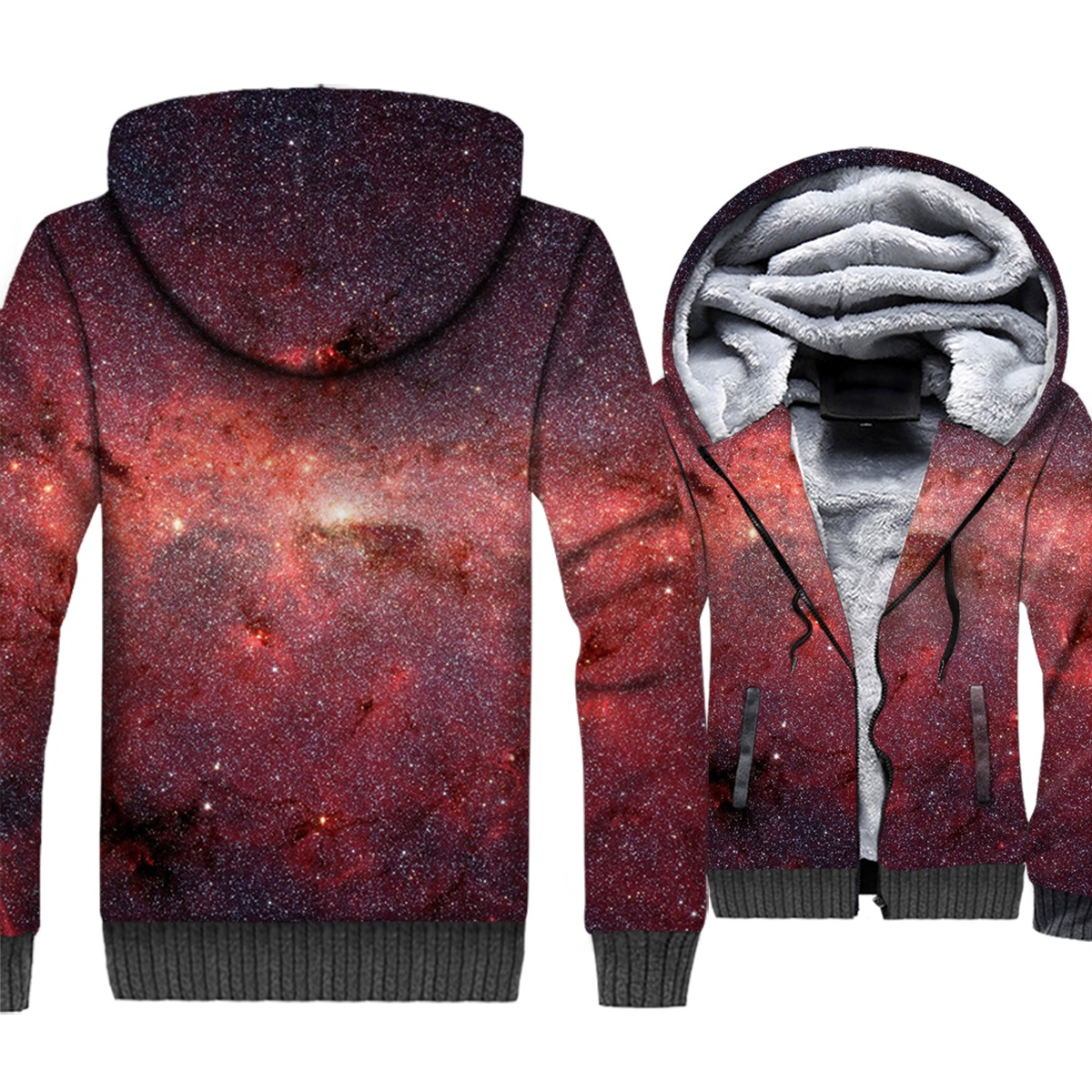 fashion warm jacket wool liner sportswear jacket starry sky Sweatshirt Men's thick coat 3D print hoodies 2019 new winter coats