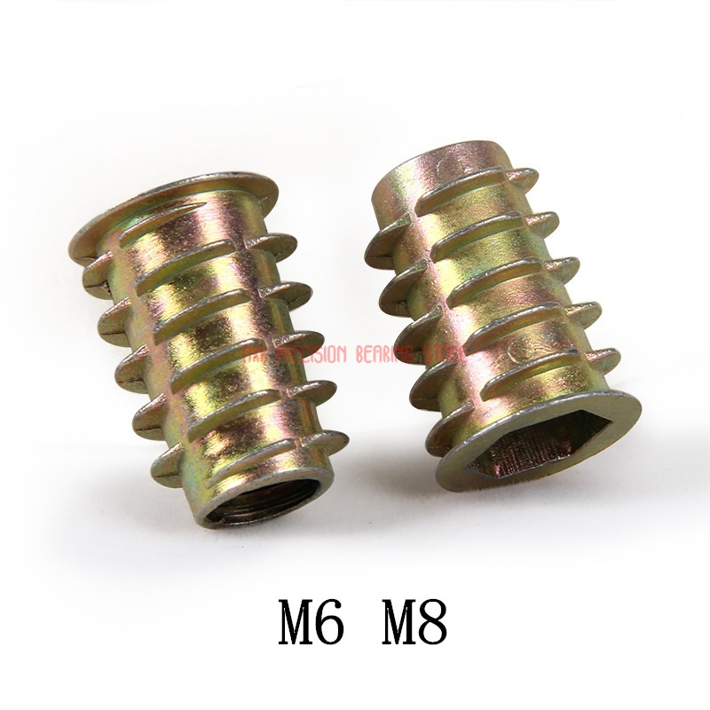 2018 Rushed Rivet Nut Stainless Steel Rod 20pcs M6 M8 Zinc Alloy Furniture Hex Drive Head Nut Threaded For Wood Insert Metric