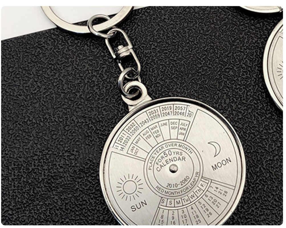 Мини уникальный вечный календарь металлический брелок Солнце Луна резьба от 2010 до 2060 календарь брелок креативный подарок брелок расписание