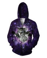 Kitty Glitter Zip Up Hoodie Kitten Cat Galaxy Space Nebula 3D Sport Tops Jumper Women Men