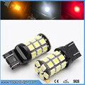 2 pcs SMD5050 T20 WY21W LED Car Freio Parada Lâmpada Luz Traseira 7443 T20 27SMD 5050 LED branco vermelho amarelo