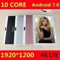 10 дюймов Дека core android 7.0 Планшеты 4 г LTE 4 ГБ Оперативная память 64 ГБ Встроенная память 1920x1200 IPS dual SIM детей Планшеты 10 10.1 GPS Планшеты