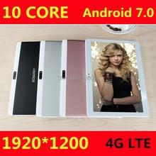 10 дюймов Дека core android 7.0 Tablet 4 г LTE 4 ГБ Оперативная память 64 ГБ Встроенная память 1920×1200 IPS Dual SIM детей Планшеты 10 10.1 GPS Планшеты