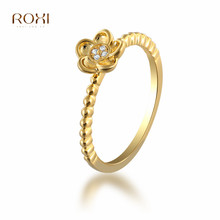 ROXI Delicate Zircon Crystal Ring Dainty Flower Ring for Women Girls Thin Finger Jewelry bague femme Gold Color Wedding Rings недорго, оригинальная цена