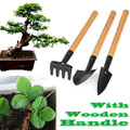3pcs Mini Garden Plant Tool Set With Wooden Handle Gardening Tool Shovel Rake SGG#