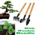 3 unids Mini Planta de Jardín Herramientas Con Mango De Madera Herramientas de Jardinería Pala Rastrillo SGG #