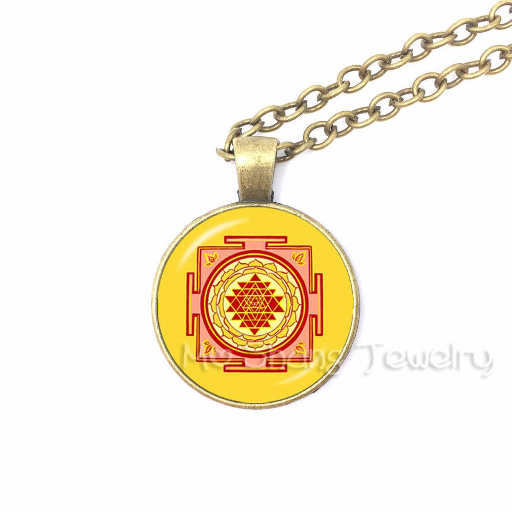 Obręcz Magic Circle of Solomon wisiorek pieczęć salomona naszyjniki święta geometria kabała naszyjnik szklana kopuła okultystyczny naszyjnik Wiccan