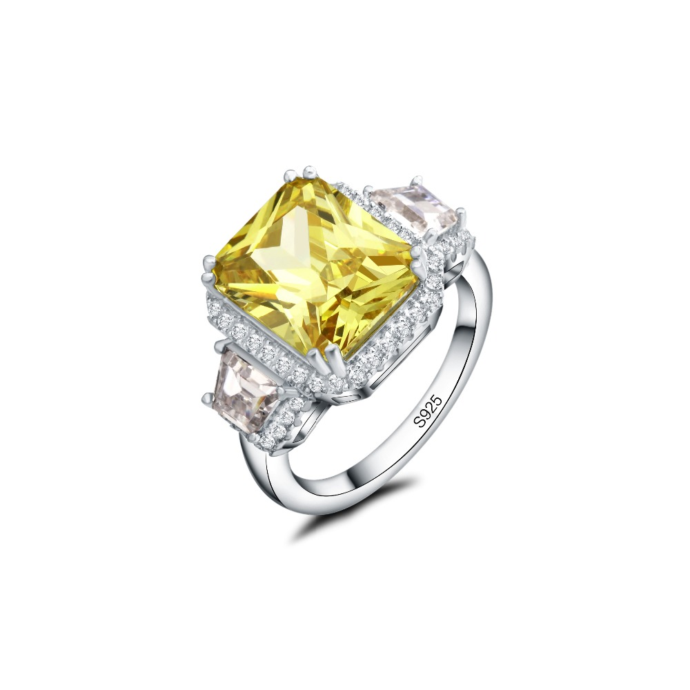 Trendy Yellow Pink Alluring Solid Silver Color CZ Princess Cut Newest Jewelry Gift For Womans Ring Size 6 7