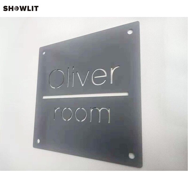 Custom Stainless Steel Door Address Signs In Grey