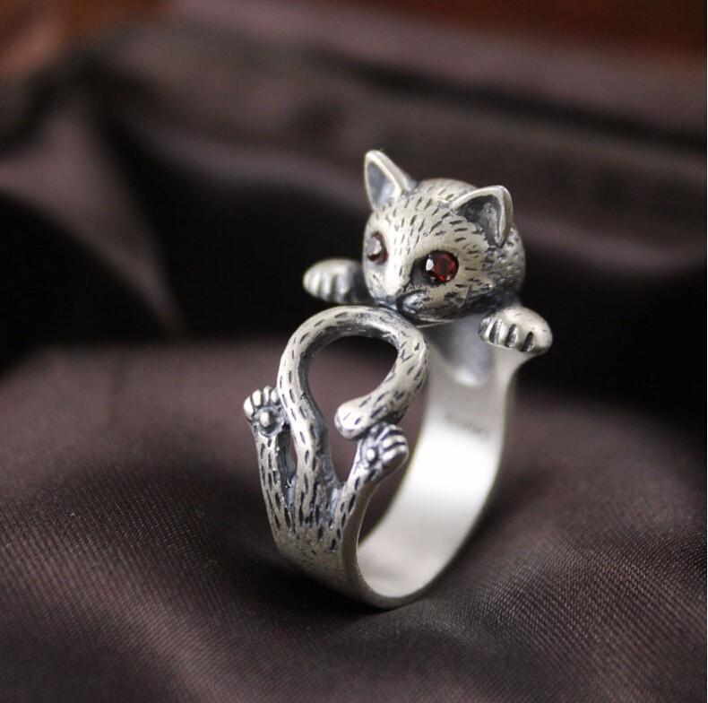 HIGH QUALITY RETRO STYLE CUTE CAT THAI SILVER RING-Cat Jewelry-Free Shipping HIGH QUALITY RETRO STYLE CUTE CAT THAI SILVER RING-Cat Jewelry-Free Shipping HTB1all2LXXXXXXdaXXXq6xXFXXXW
