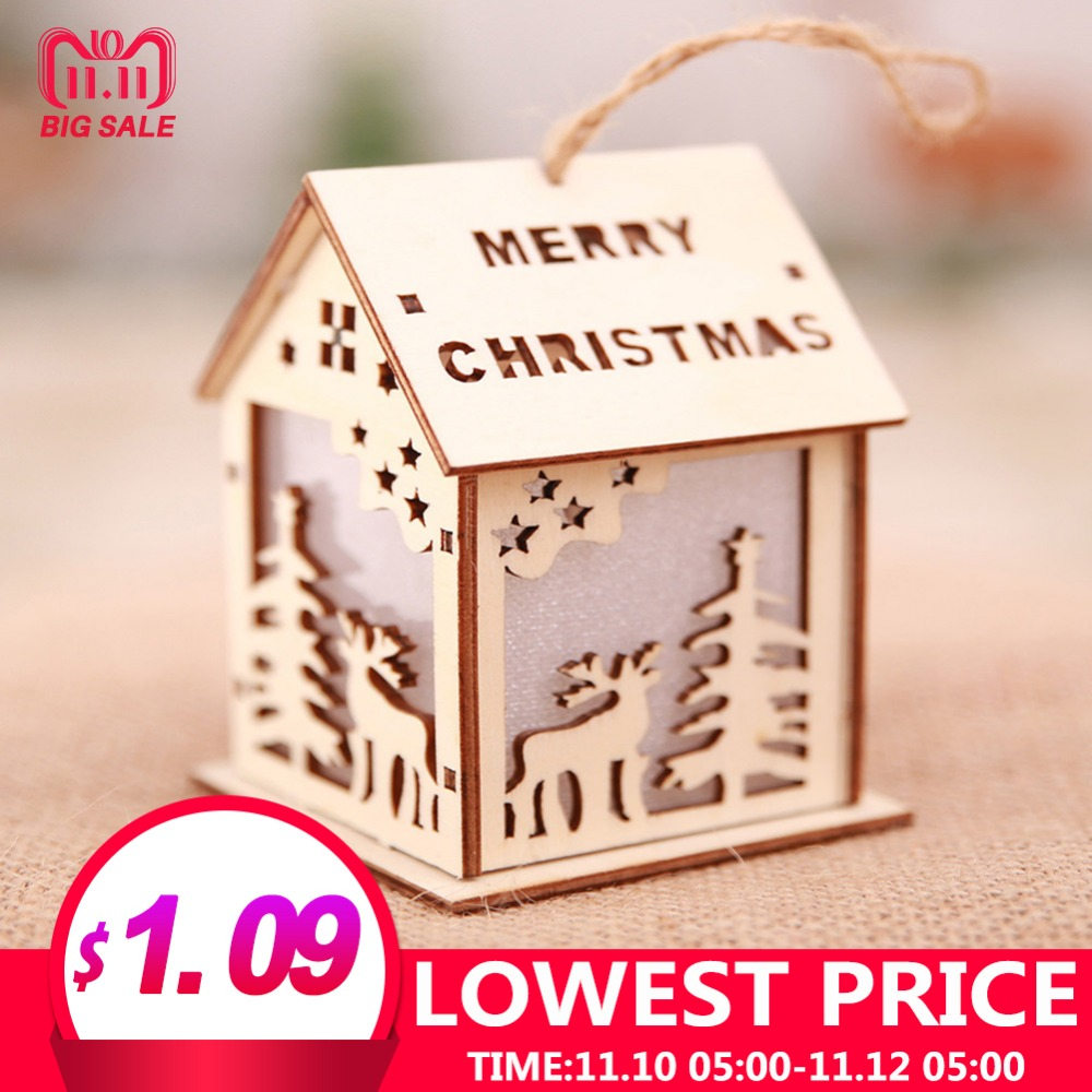 все цены на Kaigelin Mini Glow Wooden House Christmas Lights LED Christmas Tree Hanging Ornaments Lamp Xmas Party Decoration Kids Gift