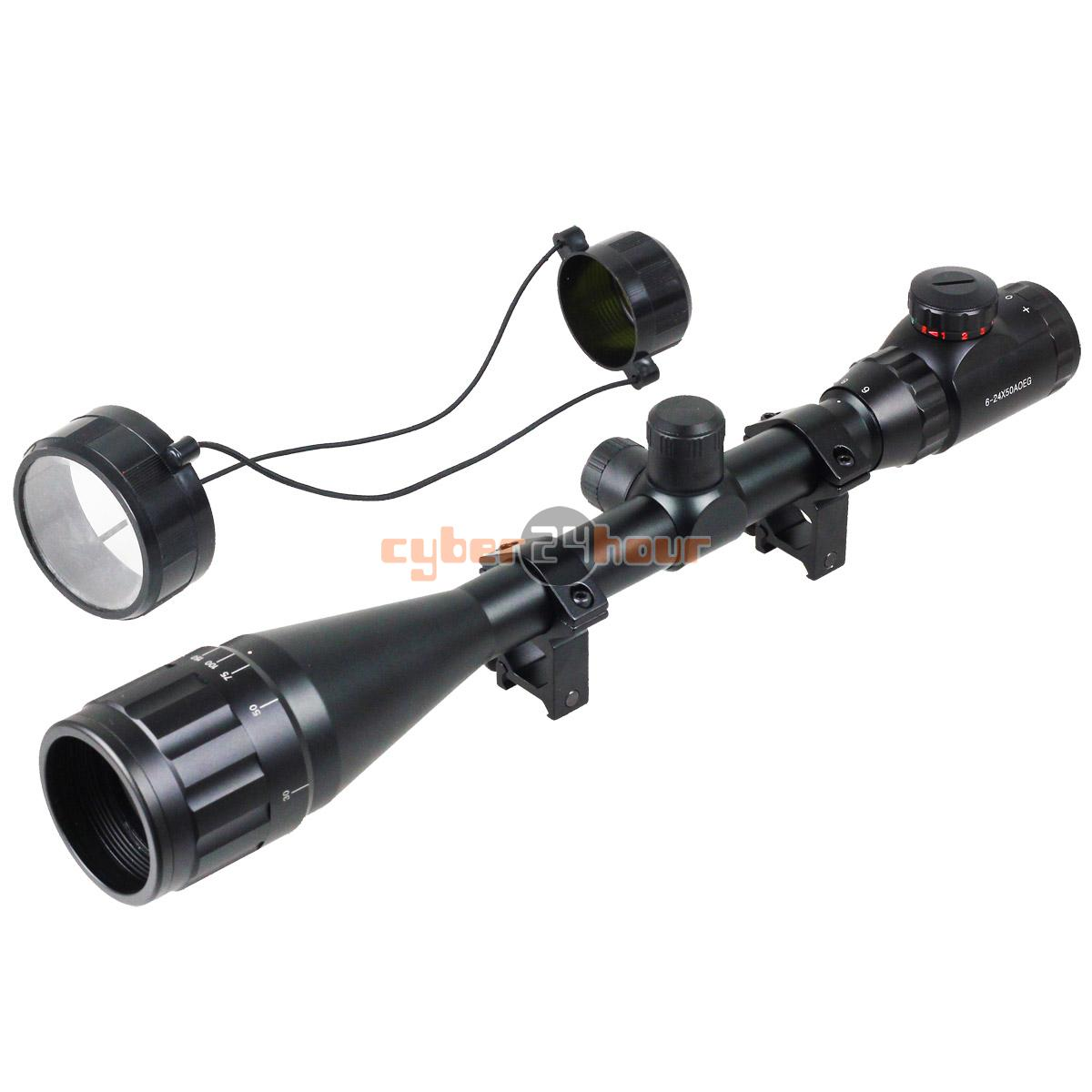 NEW Tactical 6-24x50 AOEG Red Green Mil-dot Illuminated Sight Rifle Scope With a Sunshade Fits For 20mm Rail Mount 3 10x42 red laser m9b tactical rifle scope red green mil dot reticle with side mounted red laser guaranteed 100%