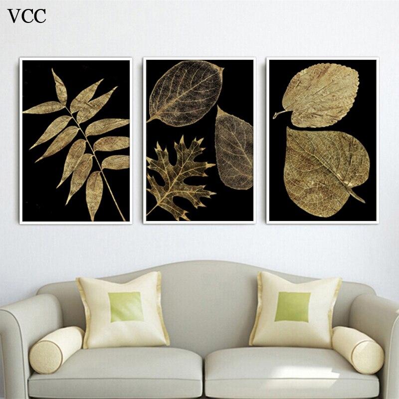 5a8b3d5b56c38 3 قطعة الذهبي يترك الصورة ، جدار صور لغرفة المعيشة ، الرسم على لوحات القماش  الجدارية ، قماش يطبع ، كوادروس الديكور ، ديكور المنزل