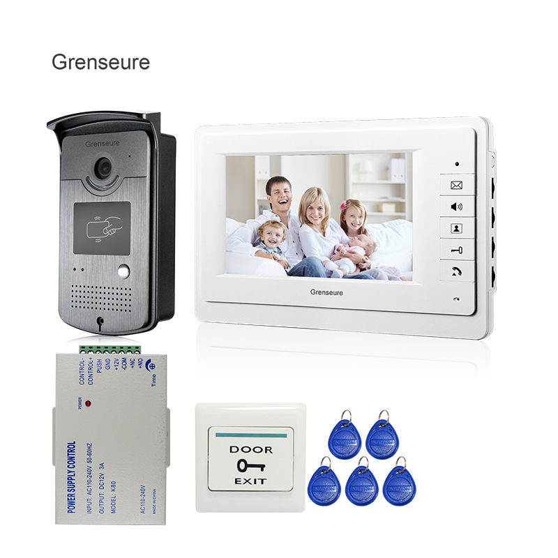 FREE SHIPPING New 7 Screen Video Door Phone Intercom System + Night Vision RFID Access Doorbell Camera + 12VDC Power Supply free shipping new handheld 4 3 inch color tft video door phone doorbell intercom night vision door bell camera 2 screen in stock
