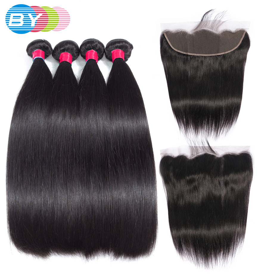 BY 30Inch Brazilian Hair Weave 3 4 Bundles With 13x4 Lace Frontal Closure Remy Human hair