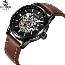 חדש OCHSTIN יוקרה מותג אופנה מכאני שעונים גברים רצועת עור זוהר גברים של ספורט אוטומטי שעונים זכר reloj hombre