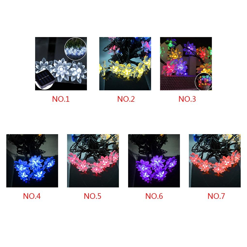 50 светодиодов на солнечных батареях двойной цветок лотоса лампы строка огни на Рождество синий