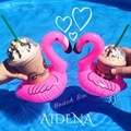 10 unids/set Flamingo Flamingo Bebida Puede Titular de la Botella Inflable Piscina Bath Beach Party Kid Toy