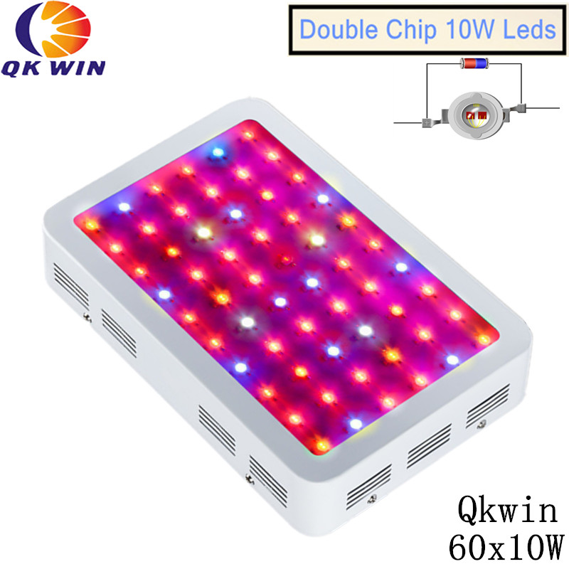 6pcs/lot 600W Double chip LED Grow Light 60x10W Full Spectrum Hydroponic Planting shipping 3pcs lot double chip qkwin 600w led grow light 60x10w double chip full spectrum for hydroponic planting shipping