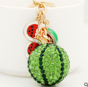 Funny products fruit watermelon keychain/women bag accessories/wholesale/chaveiro feminino llaveros women/porte clef strass/gift