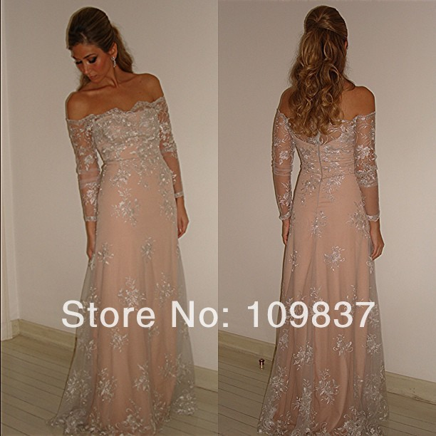 5b29e780d3db cheap Charming Off shoulder Long Sleeve Lace Overlay Pink Women Long  Evening Dress-in Evening Dresses from Weddings   Events on Aliexpress.com
