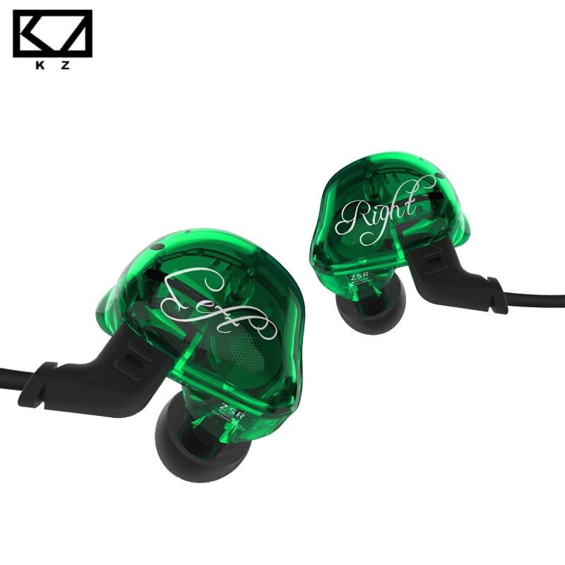 KZ ZSR Balanced Armature With Dynamic In-ear Earphone 2BA+1DD Unit Noise Cancelling Headset With Mic Detachable Cable kz es3 1dd 1ba hybrid dynamic and balanced armature earphone in ear hifi stereo sport headset suitable bluetooth 100% original