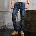 Плюс размер повседневная синий тонкий кожаные джинсы моды для мужчин длинные брюки певцы DJ этап Брюки костюм ночной клуб мужская носить