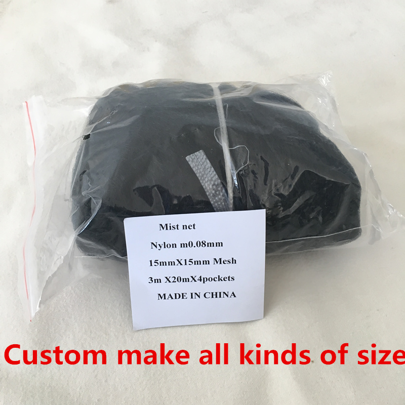 High Quality Deep Pockets Nylon 3x6m/9m/15m/20m 15mm mesh size Bird Mist net Capture  Net 0.08mm