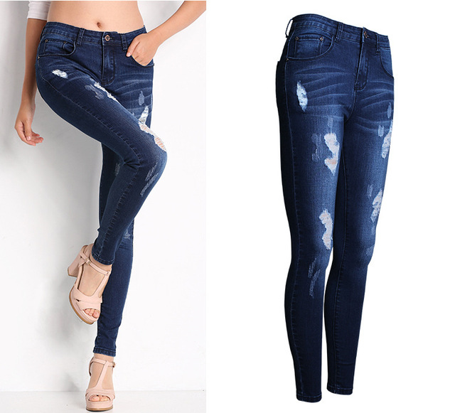 Women's Bleach Ripped Skinny Denim Jeans